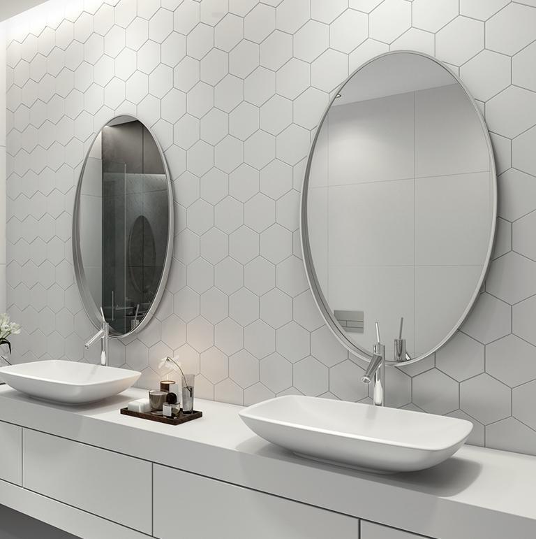 Płytki heksagon w łazience