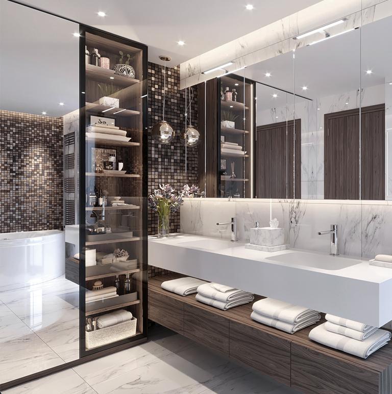 Łazienka z drewnianymi akcentami
